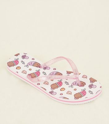 Girls White and Pink Pusheen Flip Flops