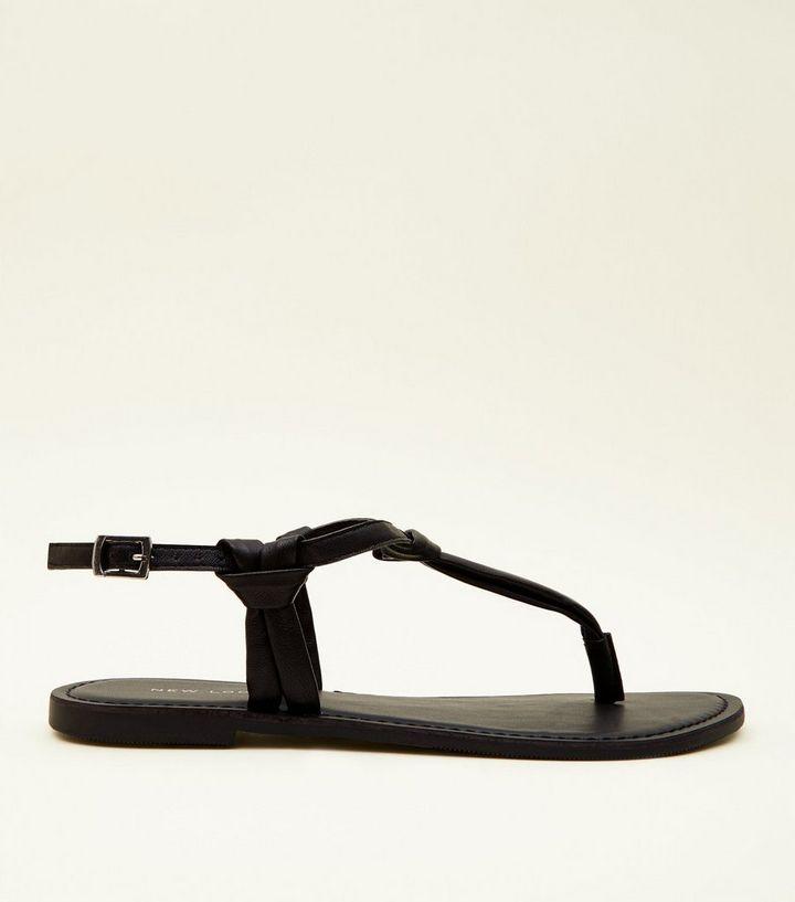 Relazionato realizzazione Lapparecchio  Black Knotted Leather Flat Sandals | New Look
