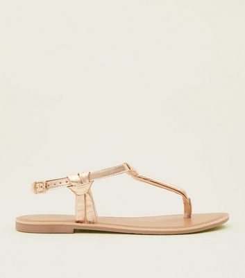 Rose Gold Knotted Leather Flat Sandals