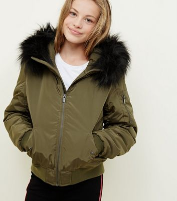 Girls Khaki Faux Fur Trim Hooded Bomber Jacket