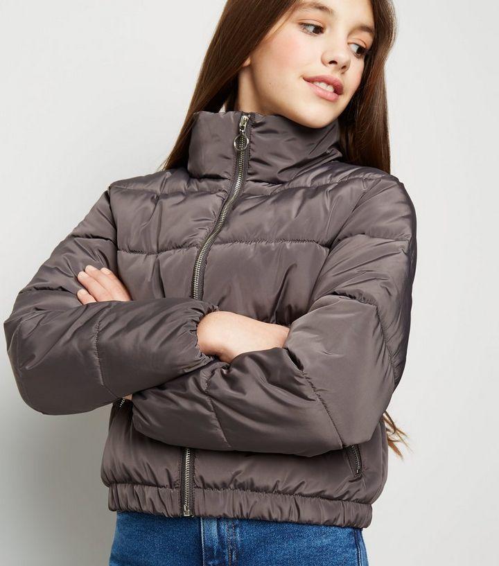 6b33d8ac3 Girls Dark Grey Funnel Neck Puffer Jacket