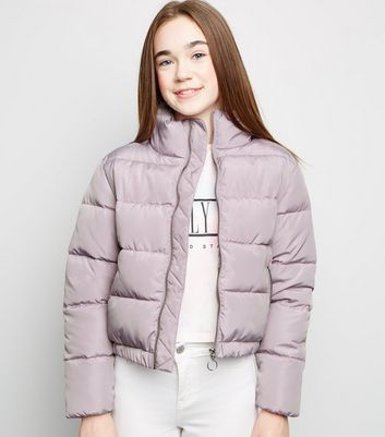 Girls Lilac Funnel Neck Puffer Jacket