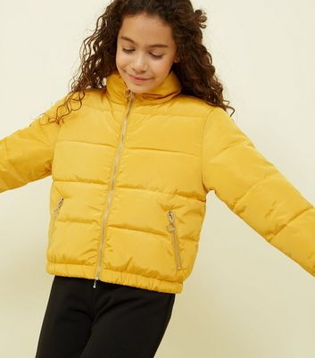 Girls Mustard Funnel Neck Puffer Jacket