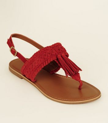 Wide Fit Red Suede Tassel Woven Strap Sandals