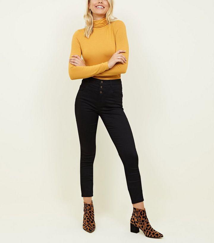 e13c88083c4 Tall Black High Waist 3 Button Skinny Jeans