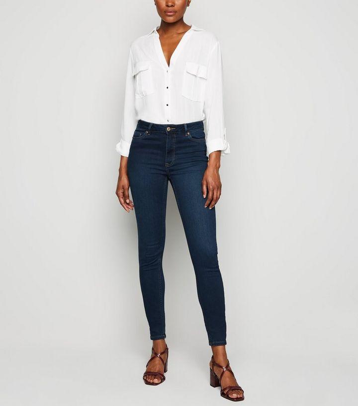 ed365a797f1618 Tall Blue Rinse Wash High Waist Super Skinny Jeans | New Look