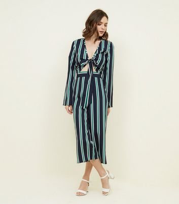 blue vanilla green stripe culottes new look