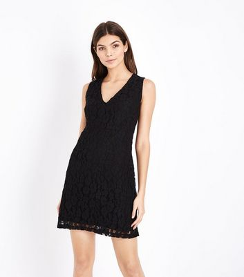 Apricot Black Lace Strap Back Dress