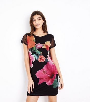 Apricot Black Floral Mesh Sleeve Dress