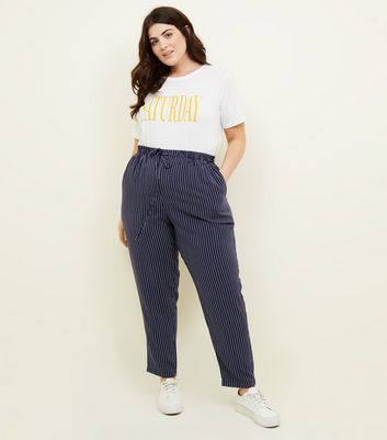 Curves Blue Pinstripe Joggers