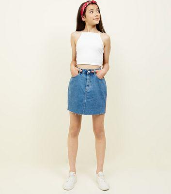 Girls Blue Stripe Side Tape Denim Skirt New Look
