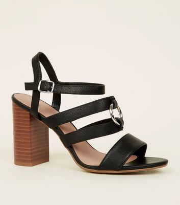 Wide Fit Black Leather-Look Ring Strap Sandals