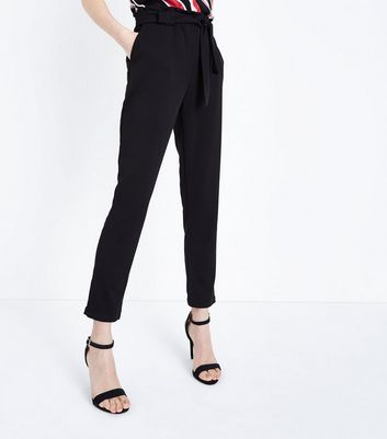 Cameo Rose Black Belted Paperbag Waist Trousers New Look