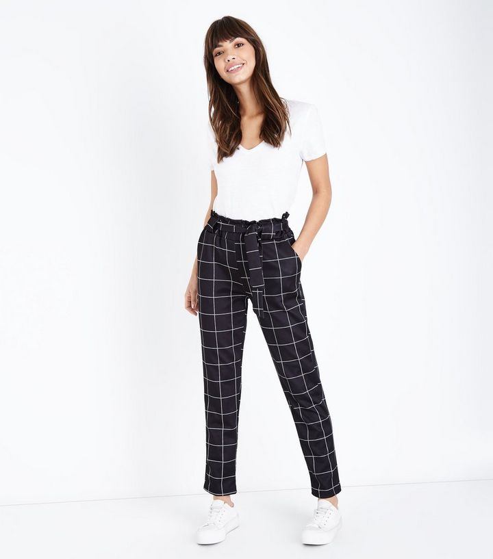 excellent quality luxury fashion many styles Cameo Rose Black Grid Check Paperbag Trousers Add to Saved Items Remove  from Saved Items