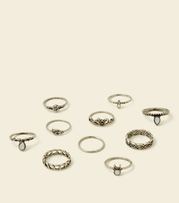10 Pack Silver Embossed Cut Out Stacking Rings New Look