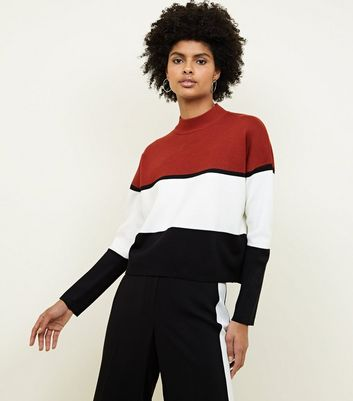 Rust Colour Block High Neck Sweatshirt