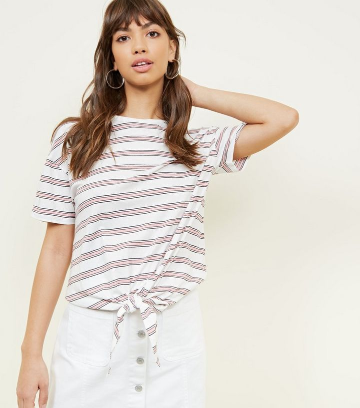 d9219c93c7 White and Pink Stripe Tie Front T-Shirt | New Look