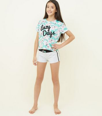 Girls Green Lazy Days Tropical Print Pyjama Set