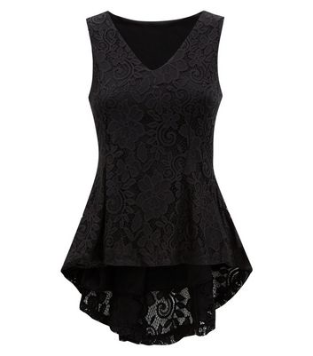 QED Black Lace Peplum Dip Hem Top New Look