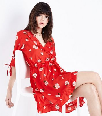 Influence Red Floral Frill Wrap Front Dress New Look