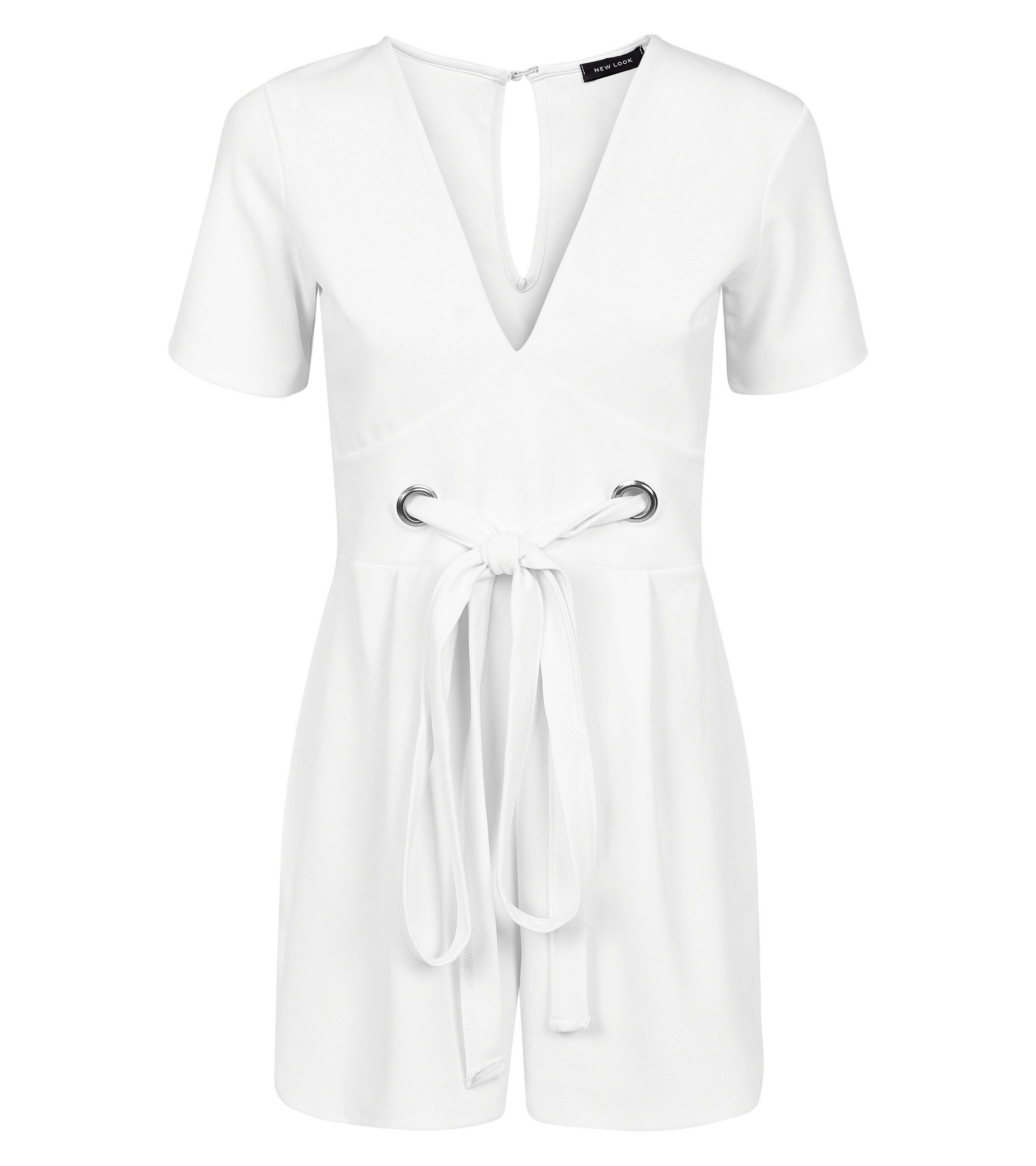4009d5b5eb2 New Look White Eyelet Front Tie Playsuit at £19.99