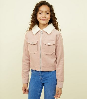 Girls Pink Corduroy Borg Collar Jacket