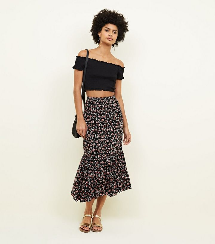 39cdfd4fcde Black Ditsy Floral Tiered Midi Skirt