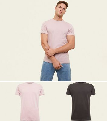 2 Pack Pink and Grey Muscle Fit T-Shirt