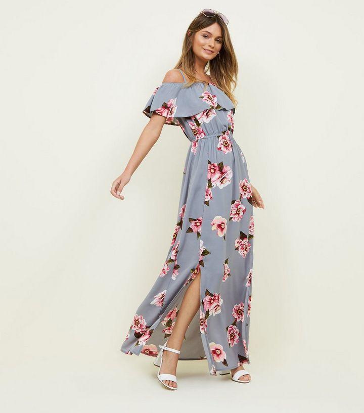 dc324f9d05 Tall Grey Floral Cold Shoulder Maxi Dress | New Look
