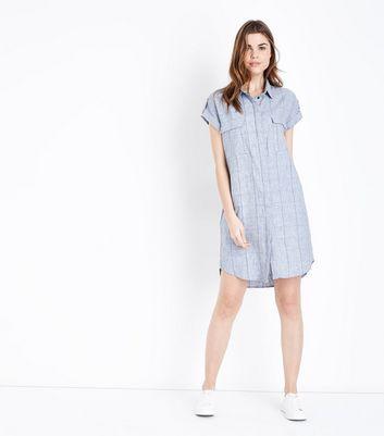 Apricot Blue Check Pattern Shirt Dress New Look
