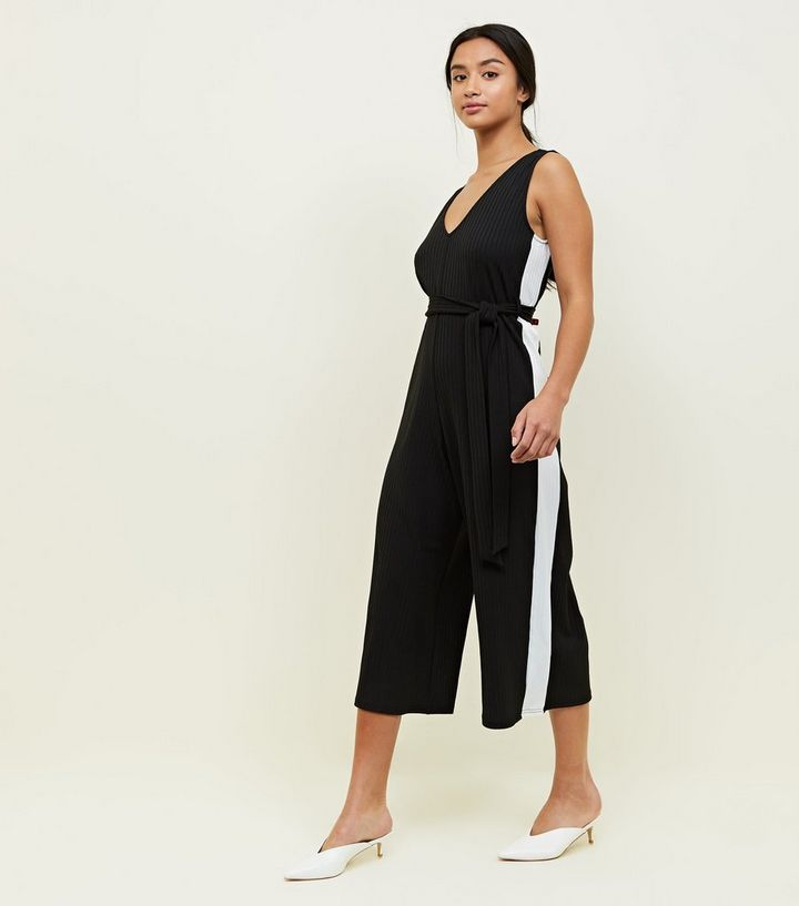2f9b22e5a564 Petite Black Side Stripe Belted Culotte Jumpsuit. Add to Saved Items