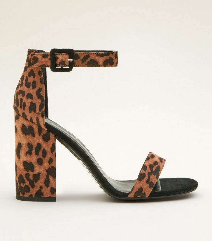 d1f2c84cce Stone Leopard Print Block Heel Sandals | New Look