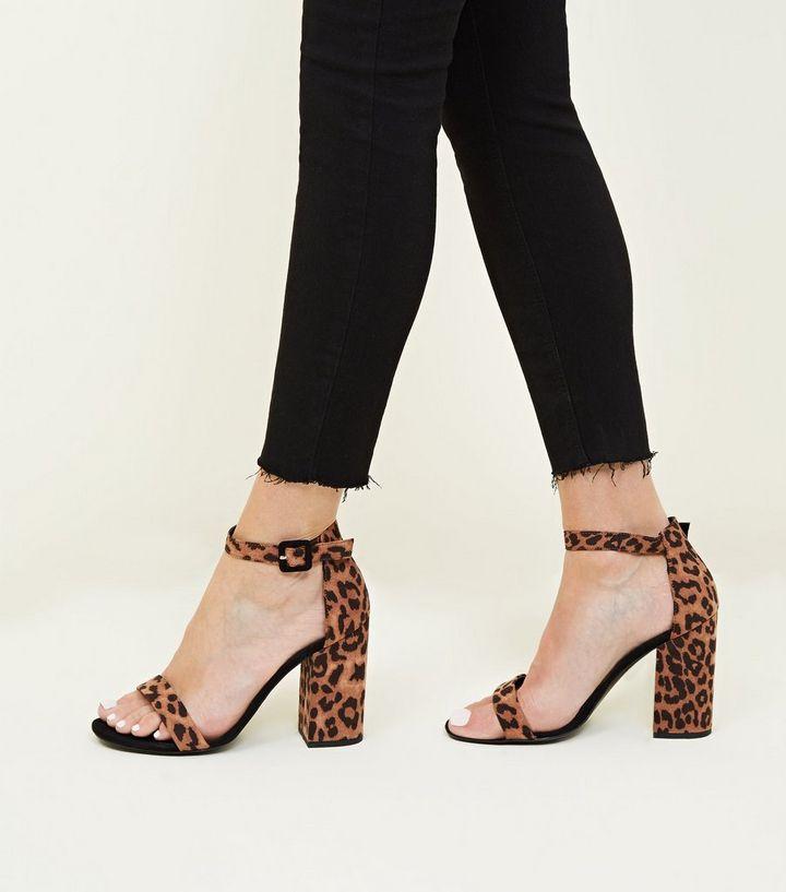 02ace12495a Stone Leopard Print Block Heel Sandals