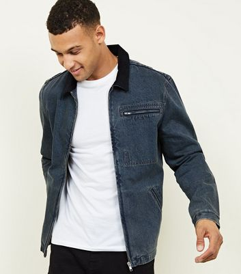 Blue Denim Corduroy Collar Worker Jacket