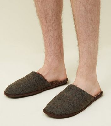 Grey Check Faux Fur Lined Slippers