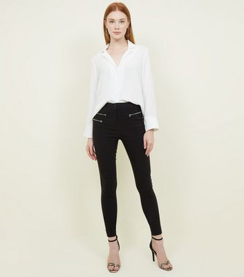 Tall Black Zip Pocket Skinny Stretch Trousers