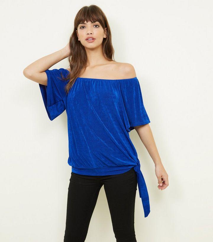 8c02fe085a96b Blue Bardot Side Tie Top