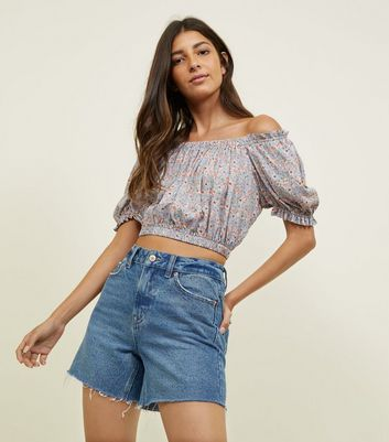 Blue Ditsy Floral Gathered Bardot Crop Top