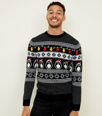 Black Christmas Penguin Jumper