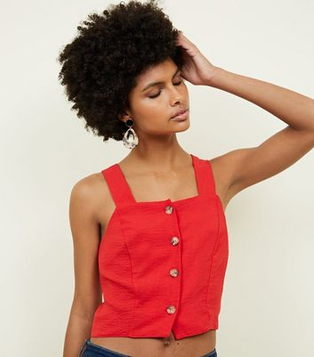 Red Button Front Cropped Cami
