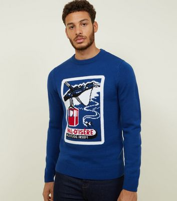 Blue Retro Ski Print Crew Neck Jumper