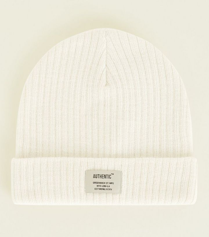 65e6e196b56 Cream Ribbed Authentic Badge Beanie Hat