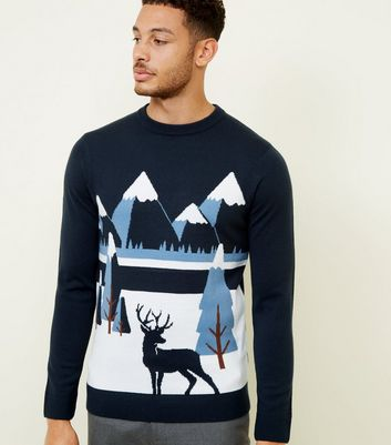 Navy Winter Scene Knit Jumper