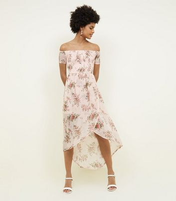 Parisian Pale Pink Floral Shirred Bardot Dress