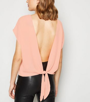 Pale Pink Short Sleeve Tie Back Blouse