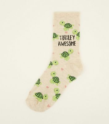 1 Pack Cream Turtley Awesome Socks