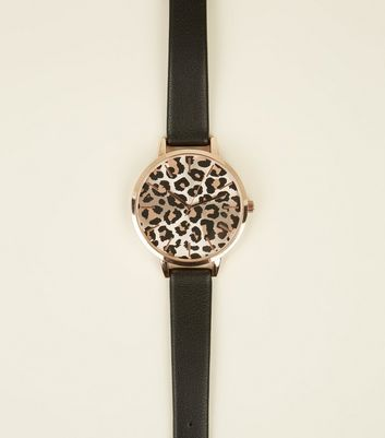 Black Leopard Print Dial Watch