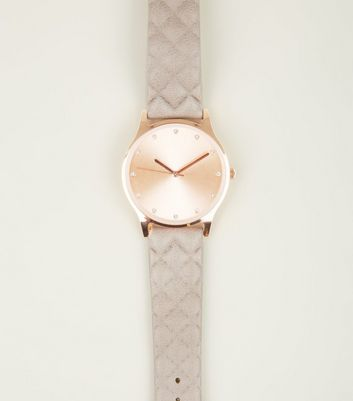 Mink Quilted Strap Diamante Dial Watch