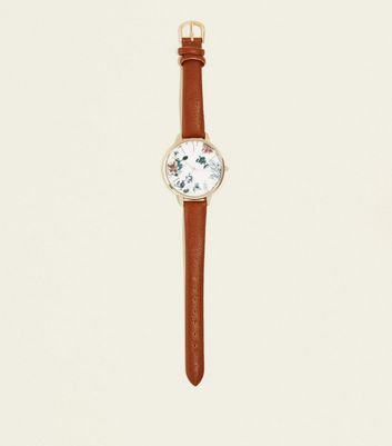 Mink Leather-Look Floral Dial Strap Watch