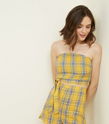 Parisian Yellow Check Tie Side Bandeau